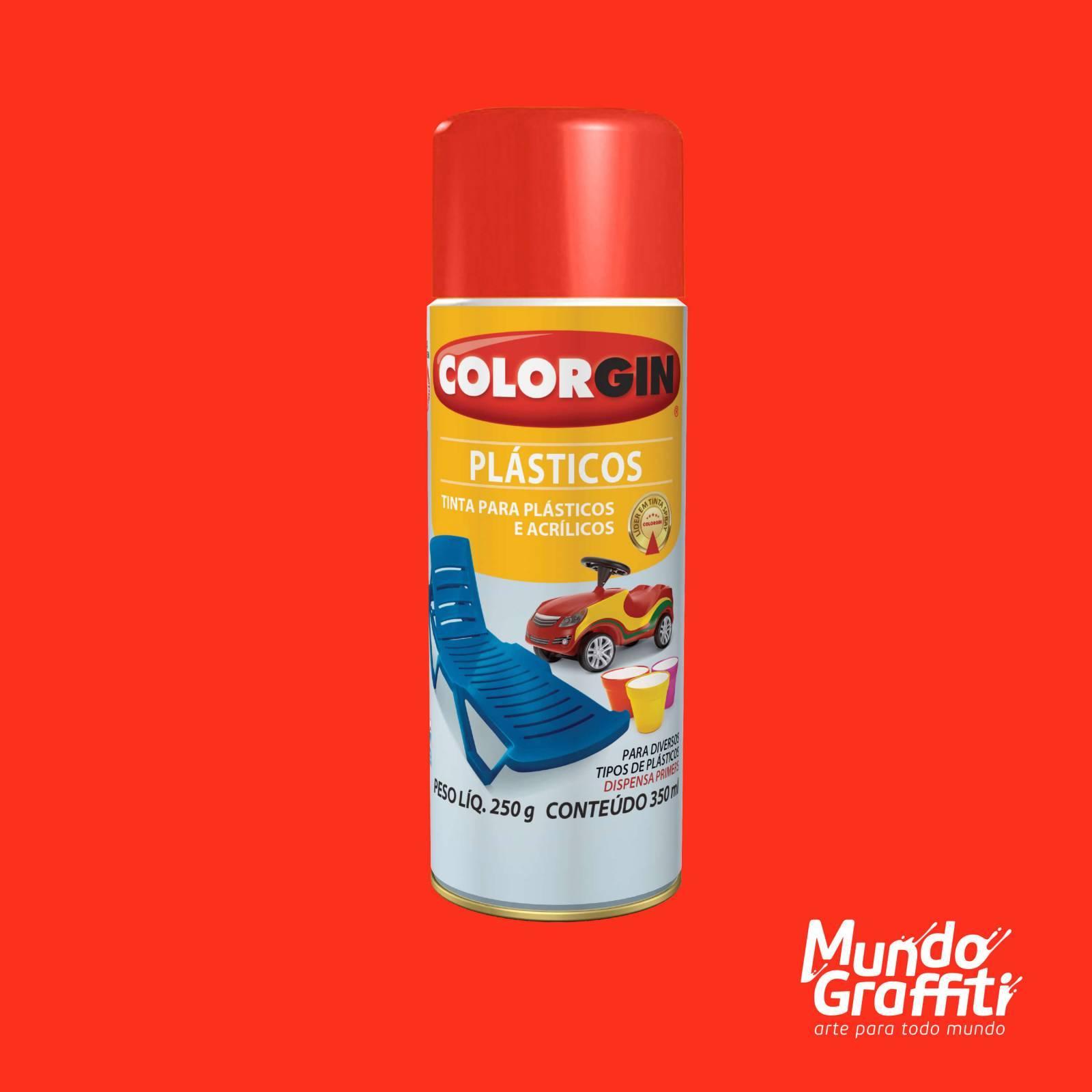 Tinta Spray Colorgin p/ Plasticos 1504 Vermelho 350ml - Mundo Graffiti