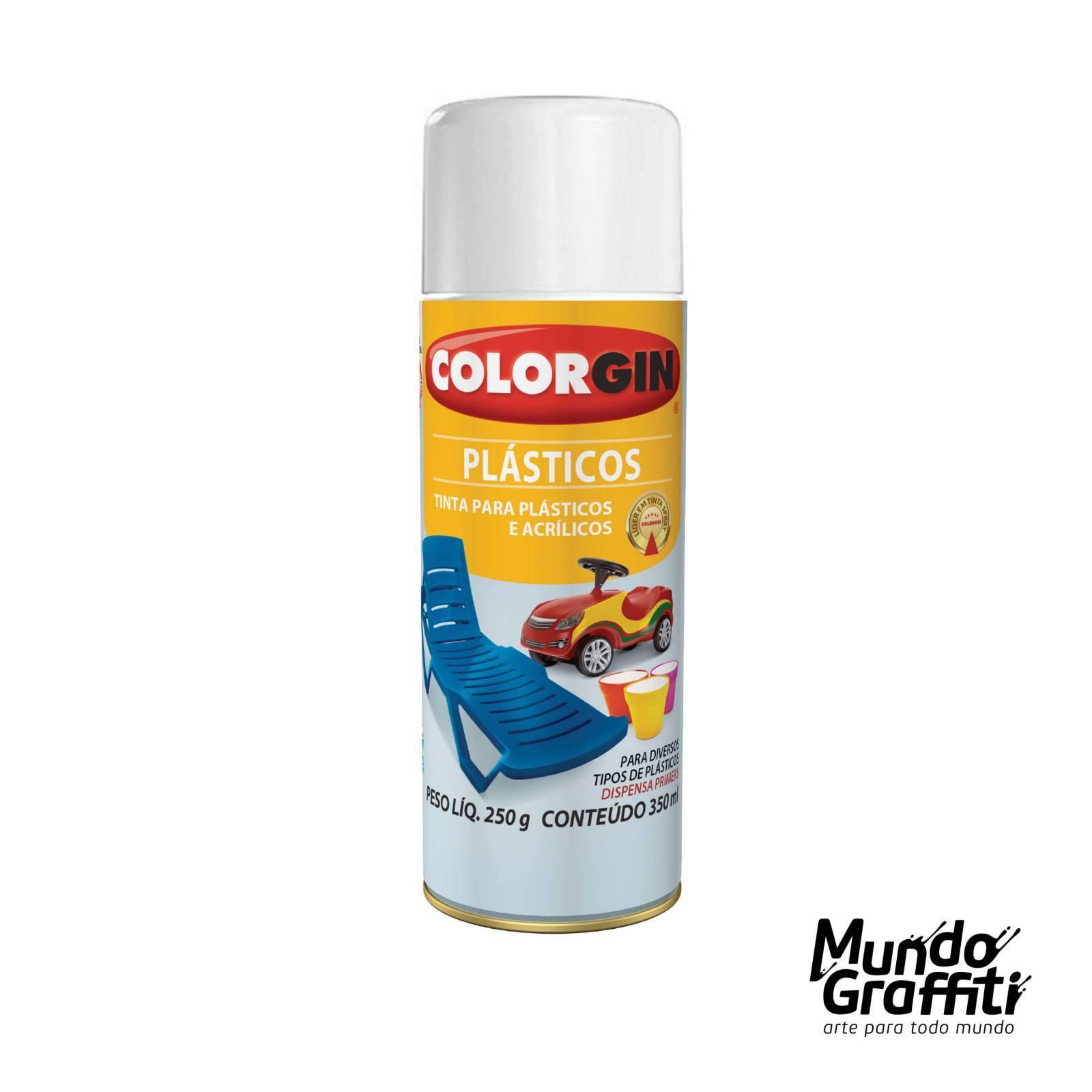 Tinta Spray Colorgin p/ Plasticos 1501 Branco Brilh. 350ml - Mundo Graffiti