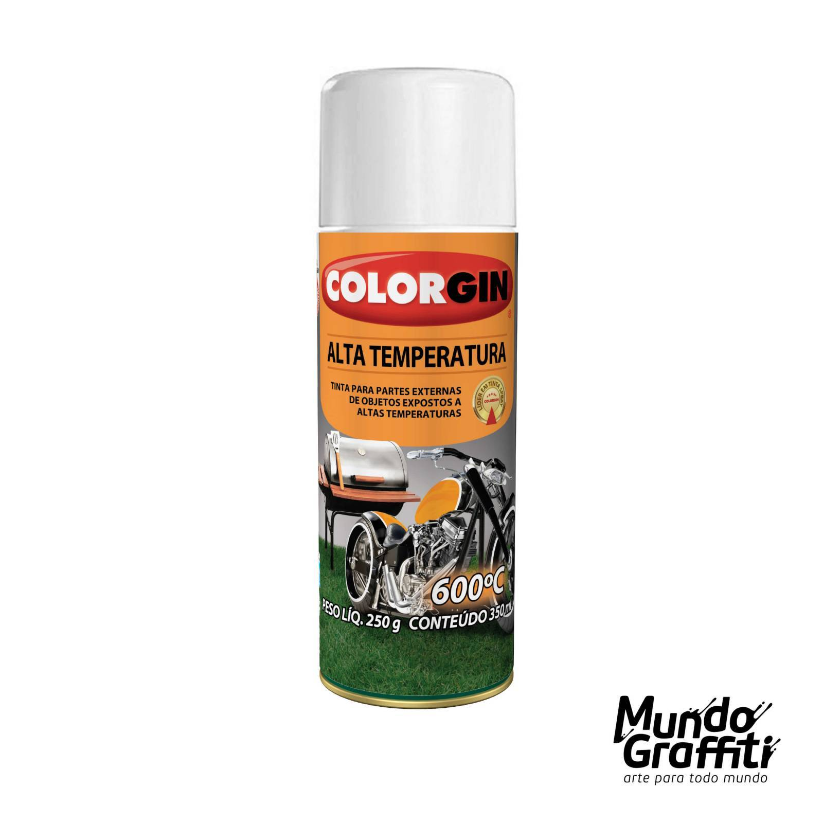 Tinta Spray Colorgin Alta Temperatura 5724 Branco Fosco. 300 - Mundo Graffiti