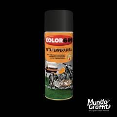 Tinta Spray Colorgin Alta Temperatura 5722 Preto Fosco 300ml
