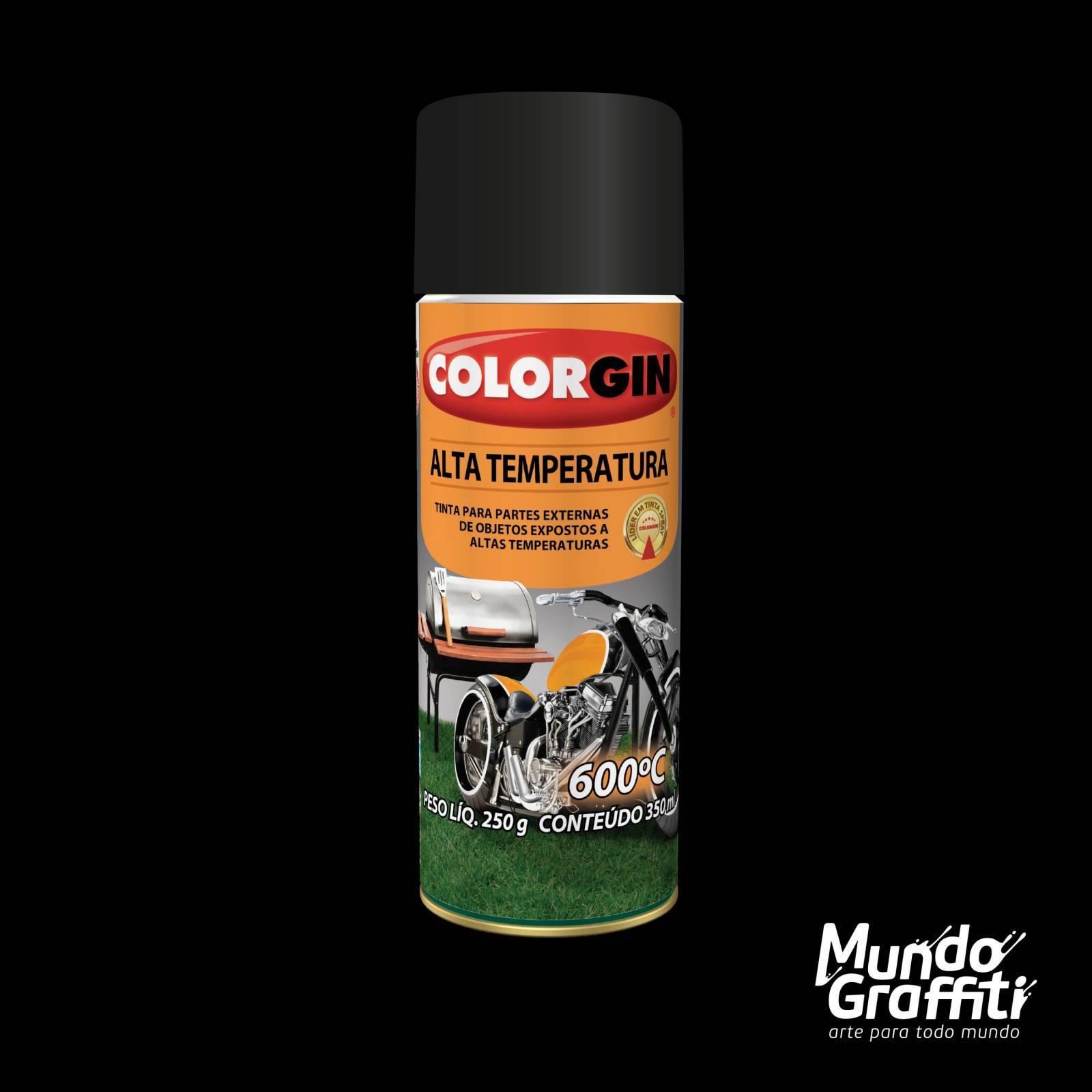 Tinta Spray Colorgin Alta Temperatura 5722 Preto Fosco 300ml - Mundo Graffiti