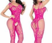 Lingerie Bodysuit Macacao Corpo Inteiro Rosa Pink
