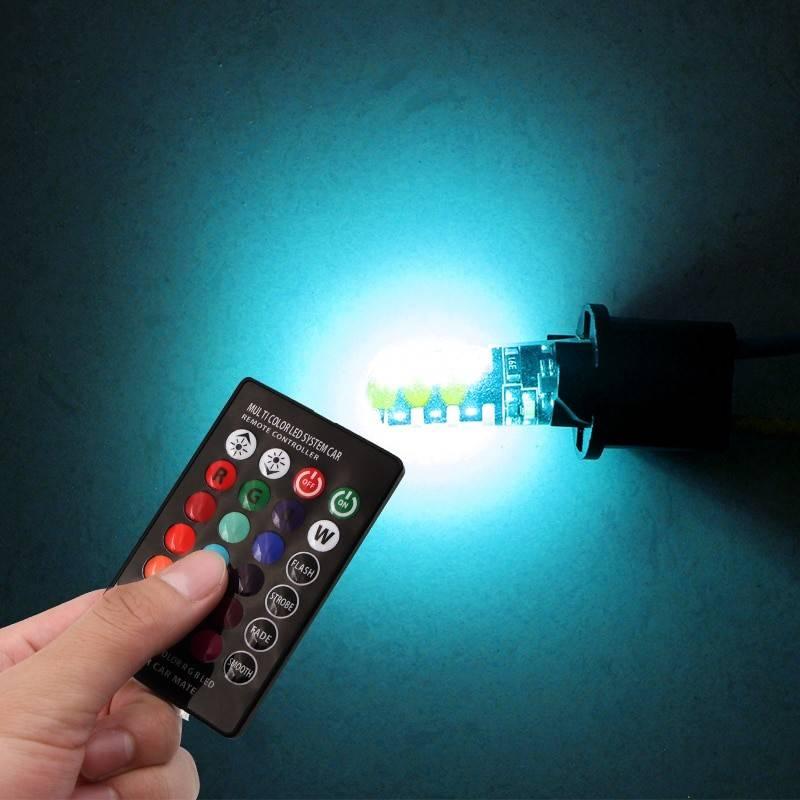 LAMPADA MEIA LUZ LED T10 COB CONTROLE MUDANÇA COR 12V PAR - Sul Acessorios