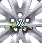 EMBLEMA CALOTA VW AUTO RELEVO PRETO 51mm 4PÇS