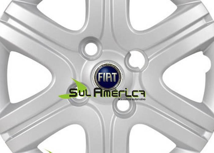 EMBLEMA CALOTA FIAT AUTO RELEVO EM AZUL 51mm - 4PÇ?s