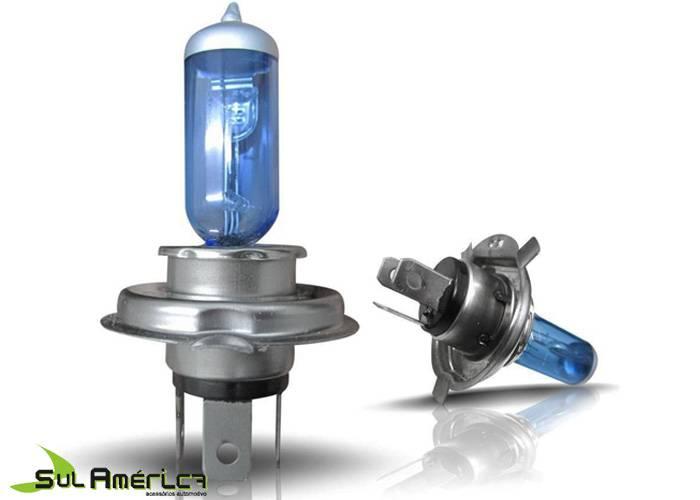 JOGO LAMPADA H4 12V 55W SUPER BRANCA XENON 5.400K (2PÇ´S)