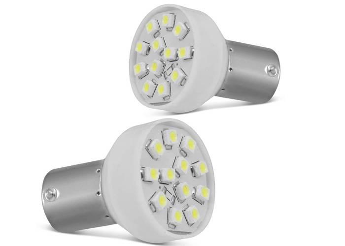LAMPADA LED RÉ FREIO 12 LEDS SUPER BRANCA 5.400K (PAR)