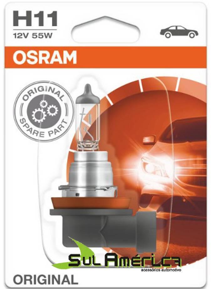 LAMPADA H11 12V 55W FAROL MILHA DUSTER OROCH ORIGINAL OSRAM - Sul Acessorios