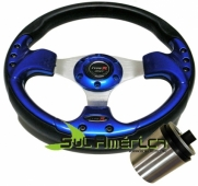 VOLANTE SAFARI RACING AZUL 330mm + CUBO FIAT IDEA 2006/2014