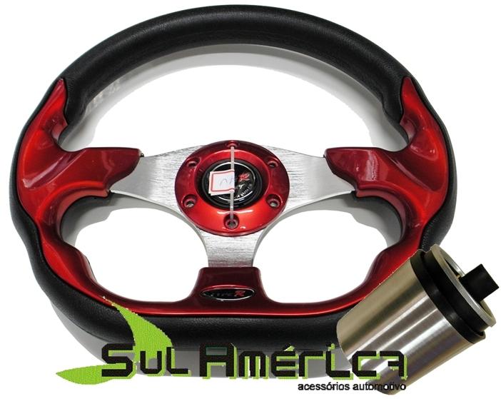 VOLANTE VERMELHO TYPER 330mm + CUBO FIAT IDEA 2004 A 2011 - Sul Acessorios