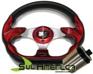 VOLANTE VERMELHO TYPER 330mm + CUBO FIAT IDEA 2004 A 2011