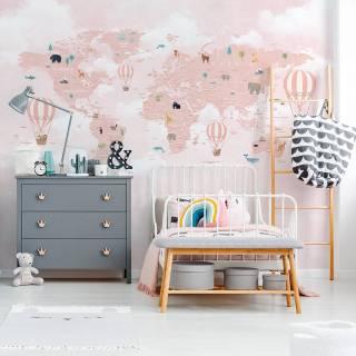 Painel Fotográfico Infantil Mapa Mundi Rosa / m²