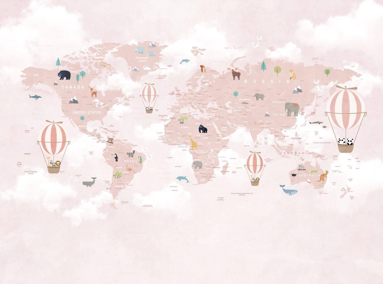Painel Fotográfico Infantil Mapa Mundi Rosa / m² imagem 2