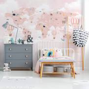 imagem do Painel Fotográfico Infantil Mapa Mundi Rosa / m²