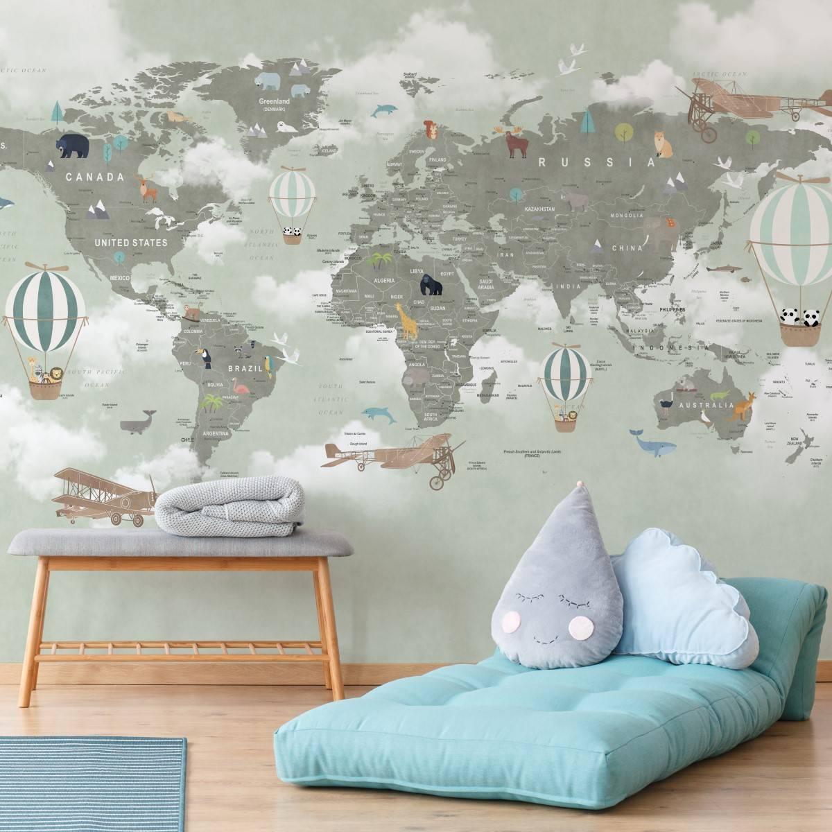 Painel Fotográfico Infantil Mapa Mundi Verde / m² imagem 1
