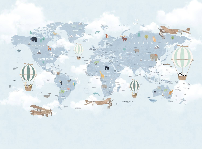 Painel Fotográfico Infantil Mapa Mundi Azul - Redecorei