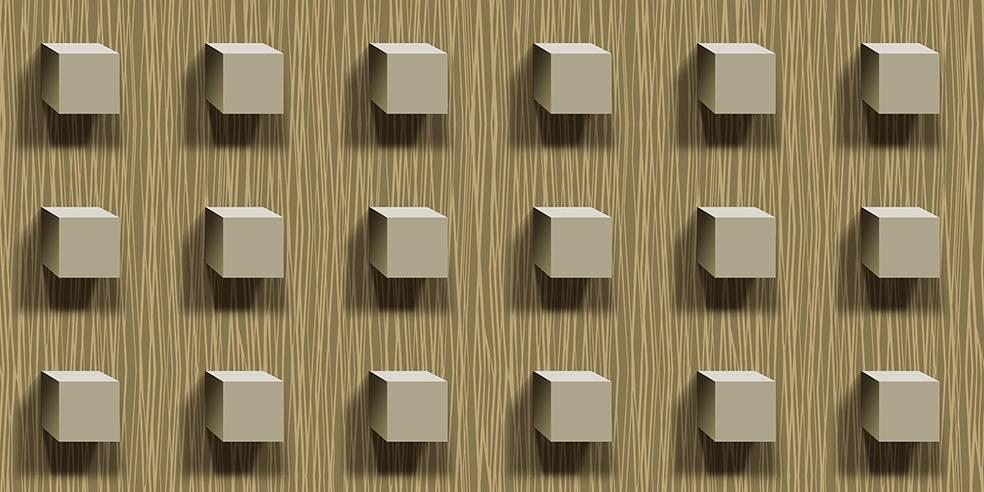 Papel de Parede Texturizado 3D Cubos bege imagem 1