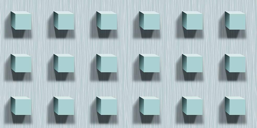 Papel de Parede Texturizado 3D Cubos Azul imagem 1