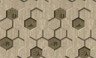 Papel de Parede Texturizado 3D Hexâgono Cinza