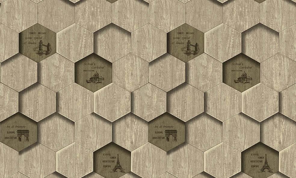 Papel de Parede Texturizado 3D Hexâgono Cinza imagem 1