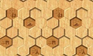 Papel de Parede Texturizado 3D Hexâgono Madeira
