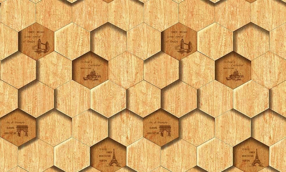 Papel de Parede Texturizado 3D Hexâgono Madeira imagem 1