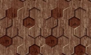 Papel de Parede Texturizado 3D Hexâgono Madeira Velha