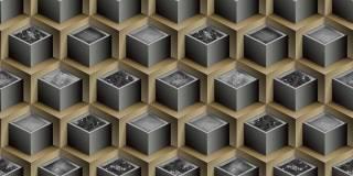 Papel de Parede Texturizado 3D Cubos Marron e Cinza
