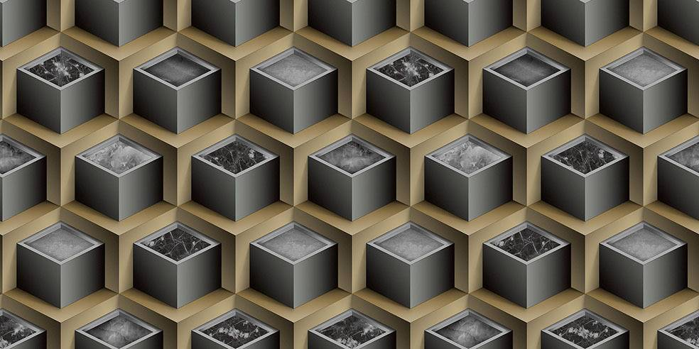 Papel de Parede Texturizado 3D Cubos Marron e Cinza imagem 1