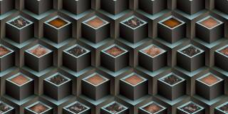 Papel de Parede Texturizado 3D Cubos Azul e Cinza