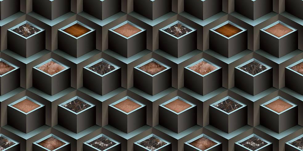 Papel de Parede Texturizado 3D Cubos Azul e Cinza imagem 1