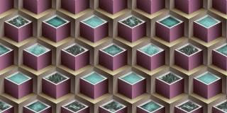 Papel de Parede Texturizado 3D Cubos Violeta e Marron