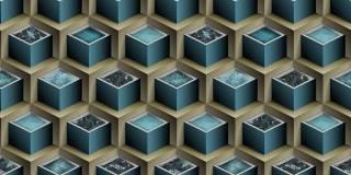 Papel de Parede Texturizado 3D Cubos Marron e Azul