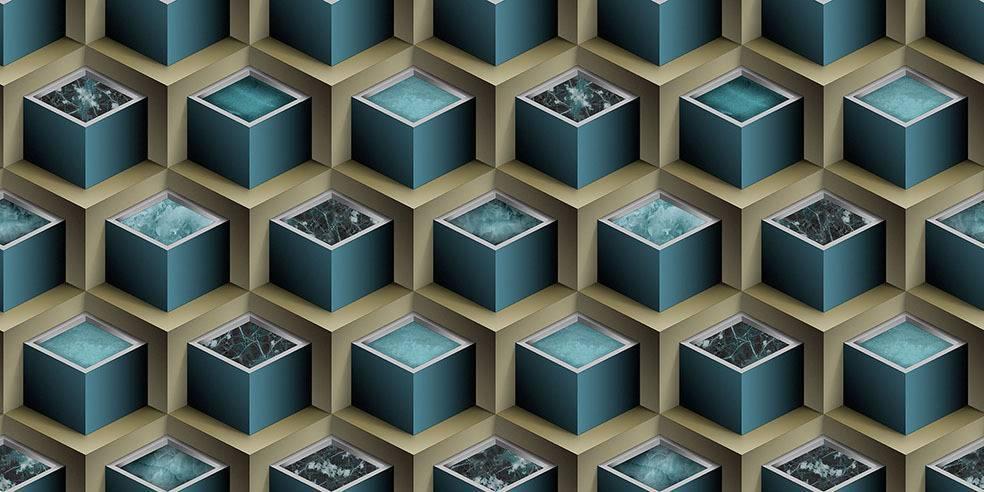 Papel de Parede Texturizado 3D Cubos Marron e Azul imagem 1