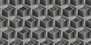 Papel de Parede Texturizado 3D Cubos Cinza