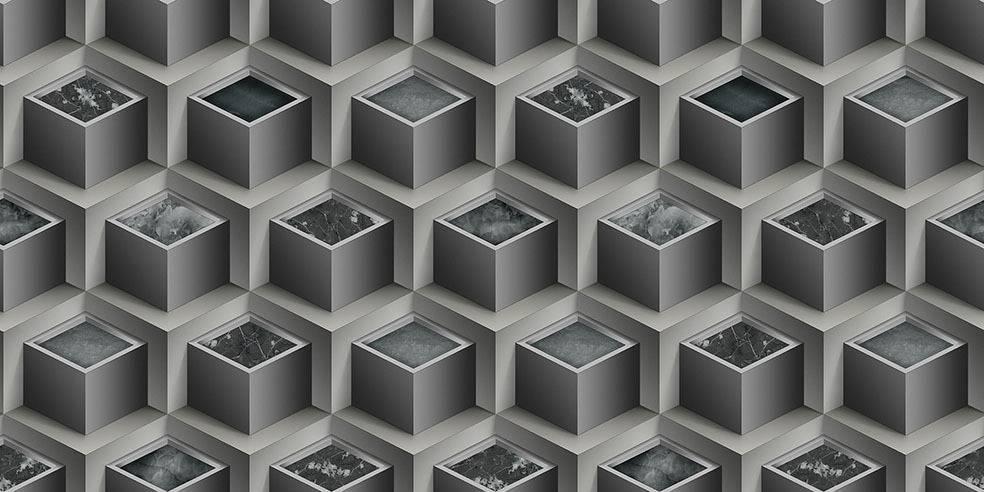 Papel de Parede Texturizado 3D Cubos Cinza imagem 1