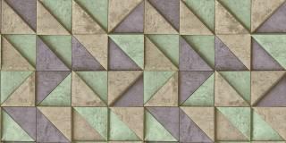 Papel de Parede Texturizado 3D Quadrados Azul e Verde