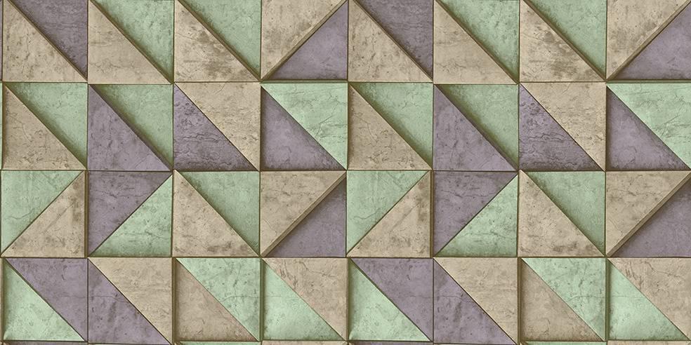 Papel de Parede Texturizado 3D Quadrados Azul e Verde imagem 1