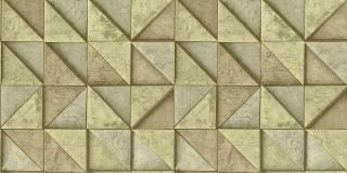 Papel de Parede Texturizado 3D Quadrados Amarelo e Marron