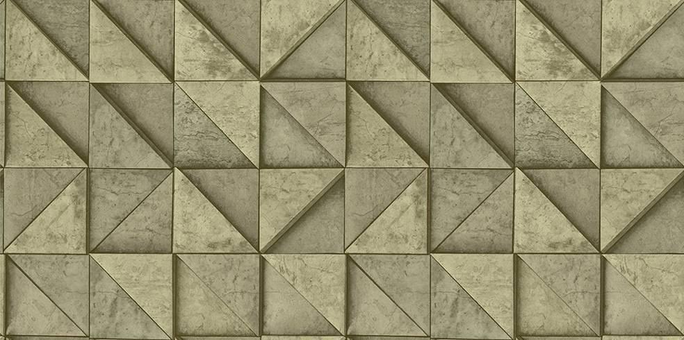 Papel de Parede Texturizado 3D Quadrados Amarelo e Cinza imagem 1