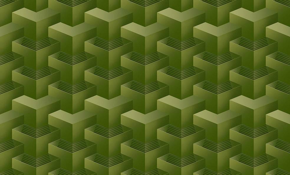 Papel de Parede Texturizado 3D Quadrado Verde imagem 1