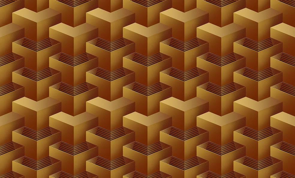 Papel de Parede Texturizado 3D Quadrado Amarelo imagem 1