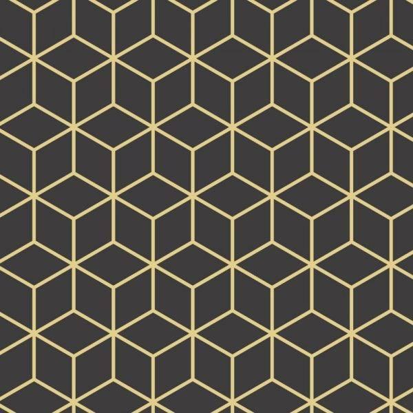 Papel de Parede Adesivo Cubos Dourados /Rolo - Redecorei