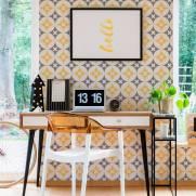 imagem do Papel de Parede Cinza e Amarelo  2 | Adesivo Vinilico