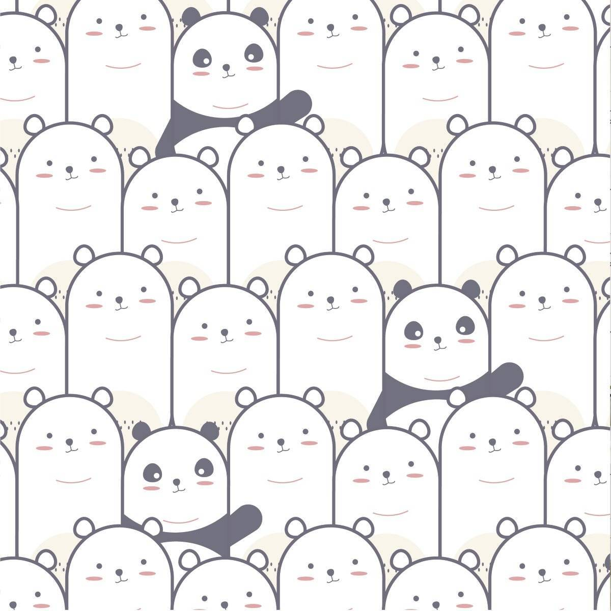 Papel de Parede Adesivo Pandas  - Redecorei