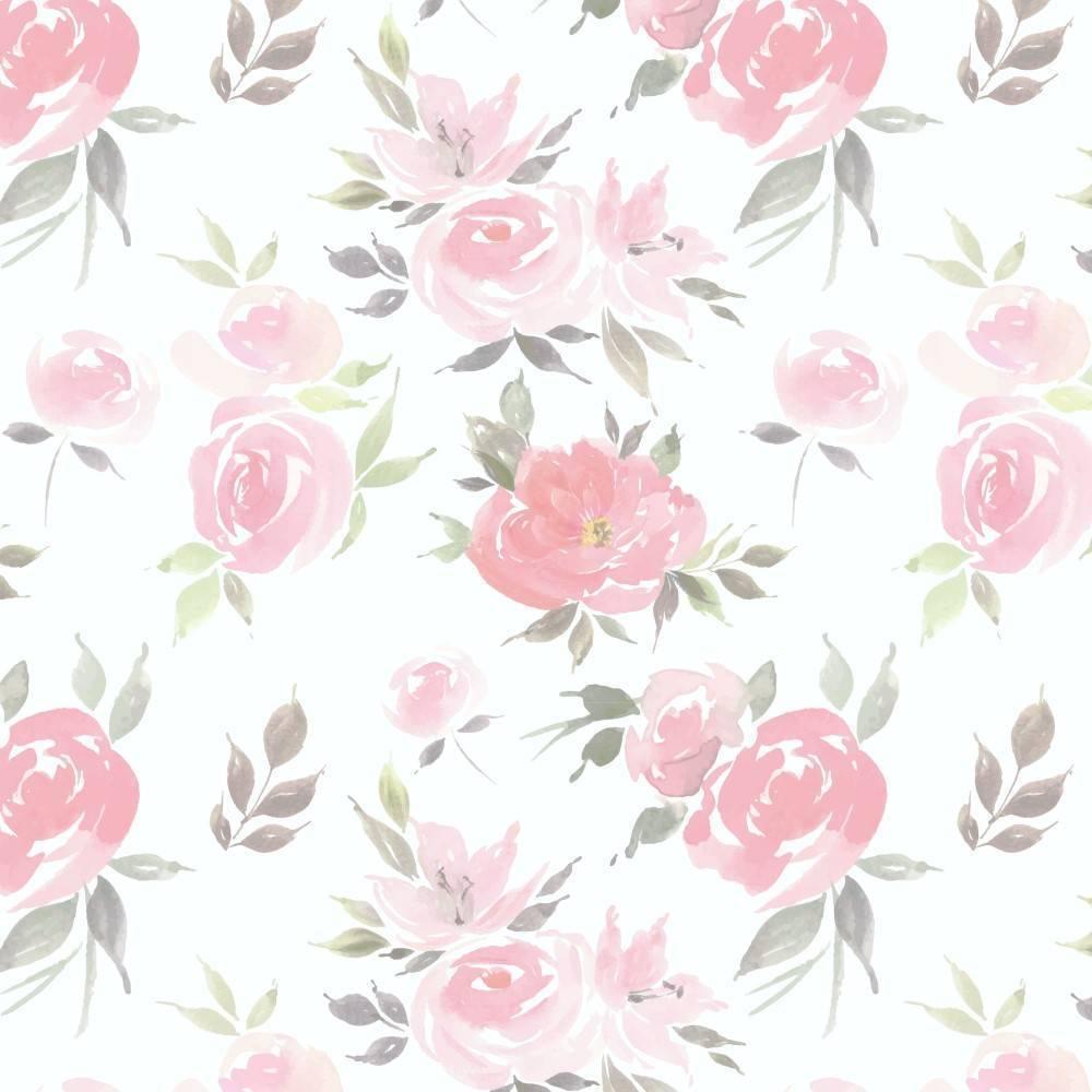 Papel de Parede Adesivo Floral Watercolor/Rolo - Redecorei