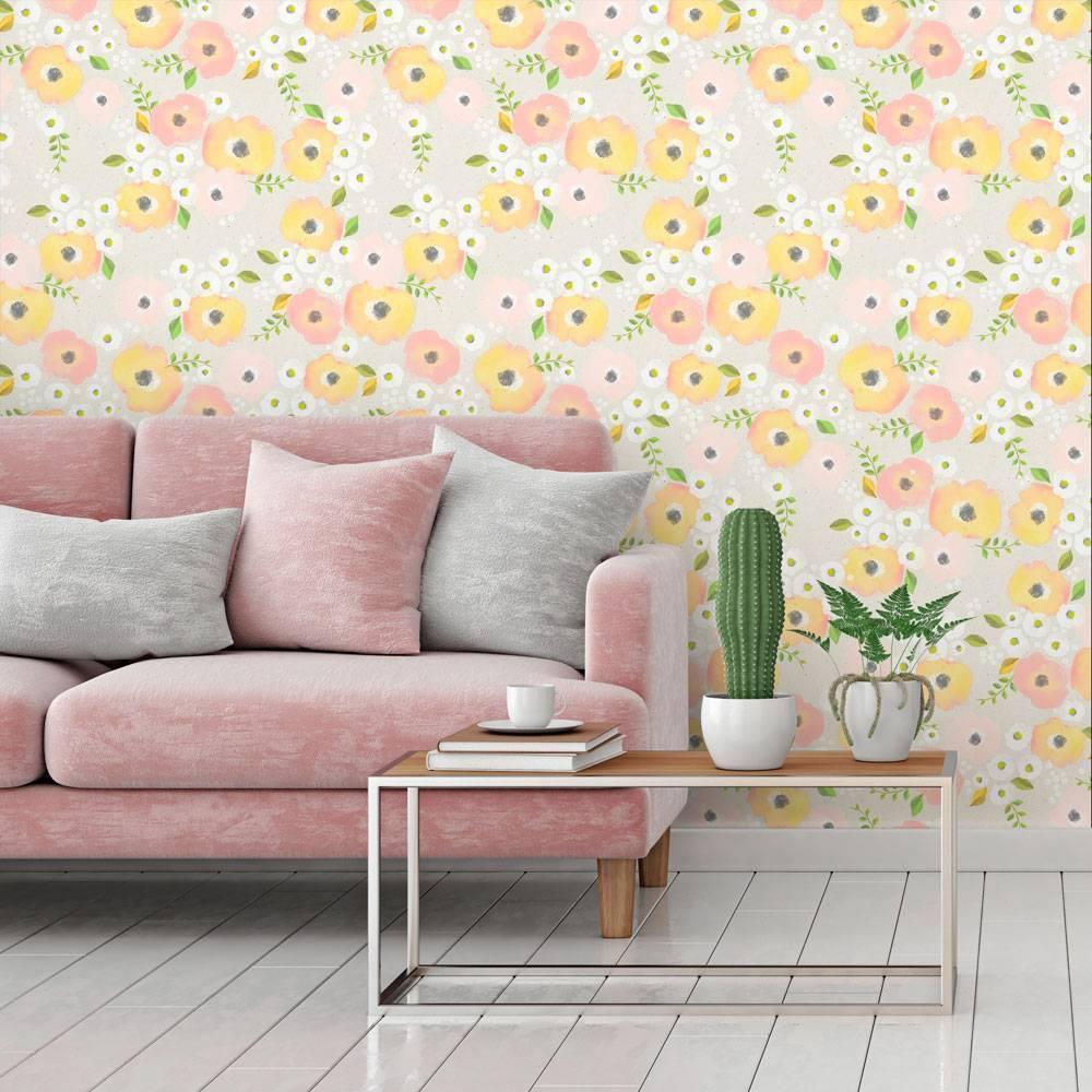 Papel de Parede Floral Pastel | Adesivo Vinílico imagem 1