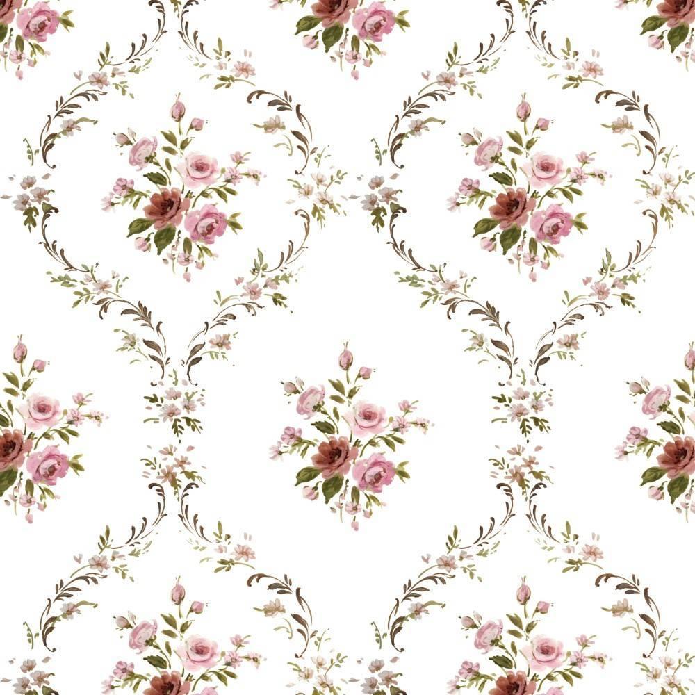 Papel de Parede Rosas Pequenas | Adesivo Vinílico imagem 1
