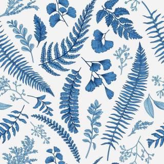 Papel de Parede Folhagem Azul | Adesivo vinílico