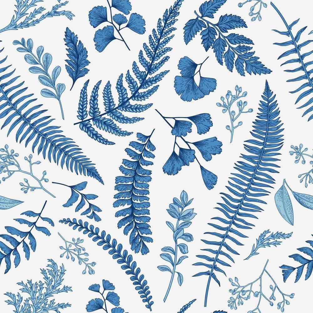 Papel de Parede Folhagem Azul | Adesivo vinílico imagem 1